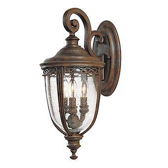 Engelska träns tre ljus Medium vägg lykta brittiska brons - Elstead belysning