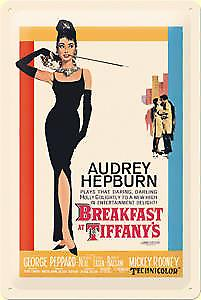 Breakfast at Tiffanys embossed metal sign
