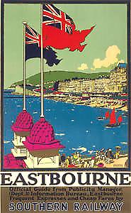 Eastbourne (two flags) (old rail ad.) fridge magnet
