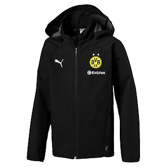 PUMA BVB rain Jr with sponsor logo kids rain jacket black