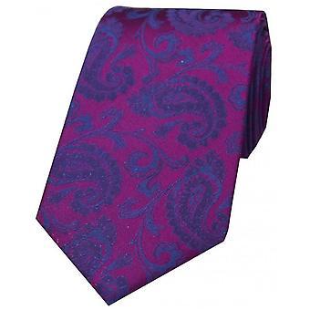 David Van Hagen Luxus Paisley Krawatte - Pflaume/blau