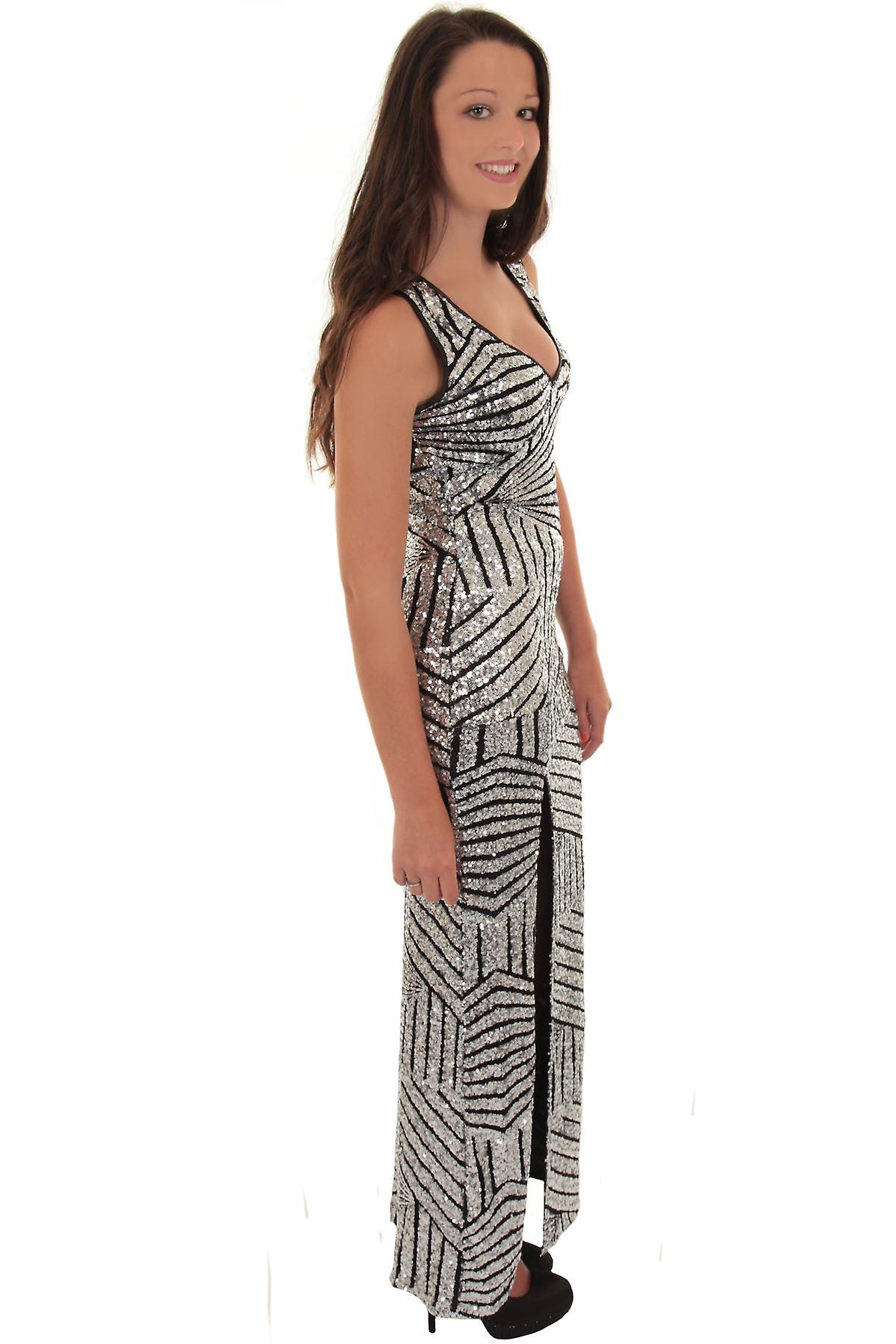 Ladies Sleeveless Plunge V-Neck Cut Out Back Sequin Side Split Lined Maxi Dress