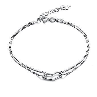 925 Sterling Silver Jewellery Hollow Heart Bracelet