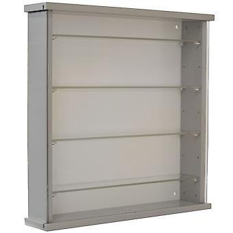 Armário de exposição de parede sólida de madeira com 4 prateleiras de vidro ajustáveis - cinza