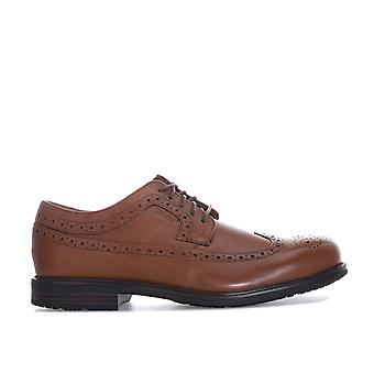Mens Rockport Essential Details 2 Wing Tip Shoes In Tan- Lace