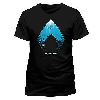 Men's Aquaman Movie and Symbol Black T-Shirt