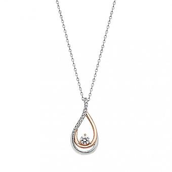 Eternity Sterling Silver/Rose Cubic Zirconia Set Tear Drop Pendant And Chain