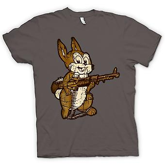 Mens T-shirt - Rabbit With M60 Machine Gun - Cool Design