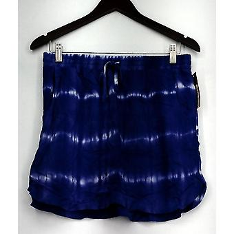 Merona Skirt Pull On Tie Dyed Stripe w/ Drawstring & Pockets Blue/ White