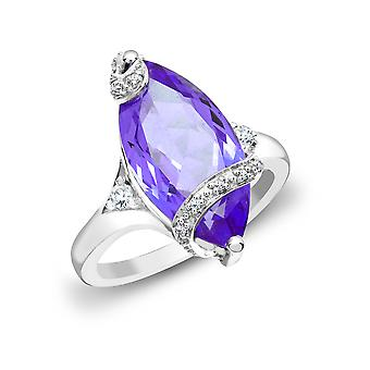 Jewelco London 18ct White Gold Pave Set G SI1 0.11ct Diamond and Marquise Purple 6.5ct Amethyst Solitaire Ring 20mm