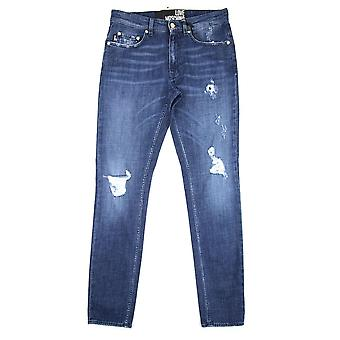 Amore Moschino 5 Pocket Peace Logo Jeans Denim