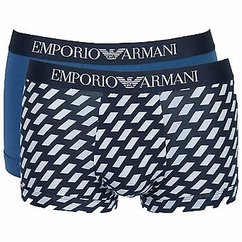 Emporio Armani Cotton Stretch 2-Pack Trunk, Marine Print / Cobalt, Large