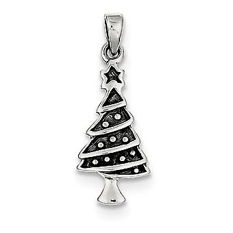 925 Sterling Argent Solide Poli Antique finition Christmas Tree Pendentif - 1.4 Grammes
