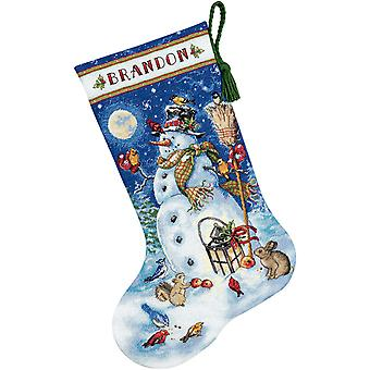 Gold Collection Snowman & Friends Stocking Counted Cross Sti 16