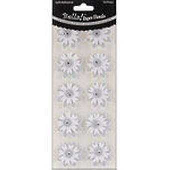 Bella! Wedding Glittered Self Adhesive Paper Florals 10 Pkg Silver Bwf81