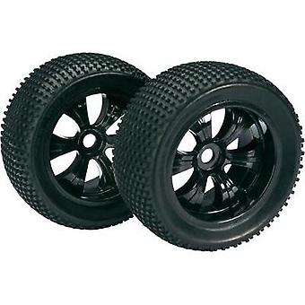 Absima 1:8 Truggy Wheels Dirty 6-spoke Black 2 pc(s)