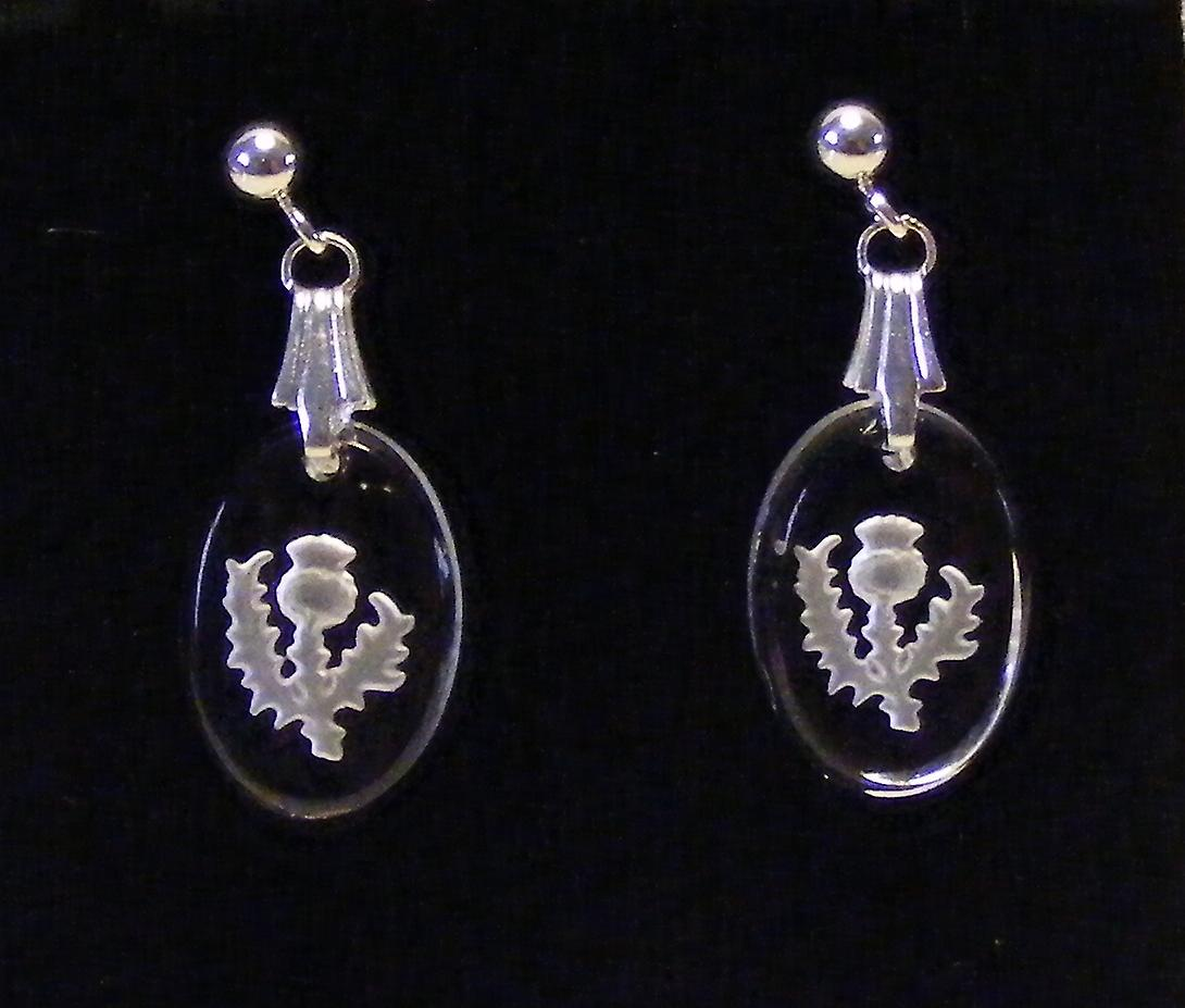 Frosted Thistle Oval Earrings and Small Pendant set