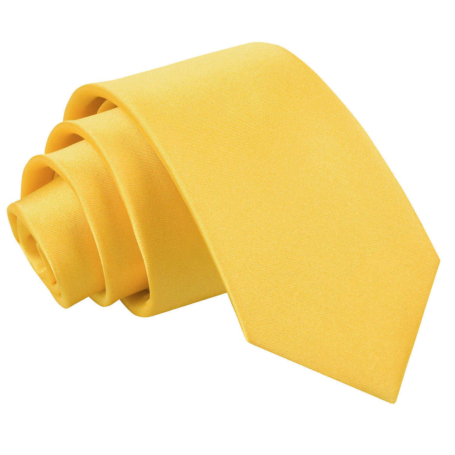 Plain Marigold Satin Slim Tie