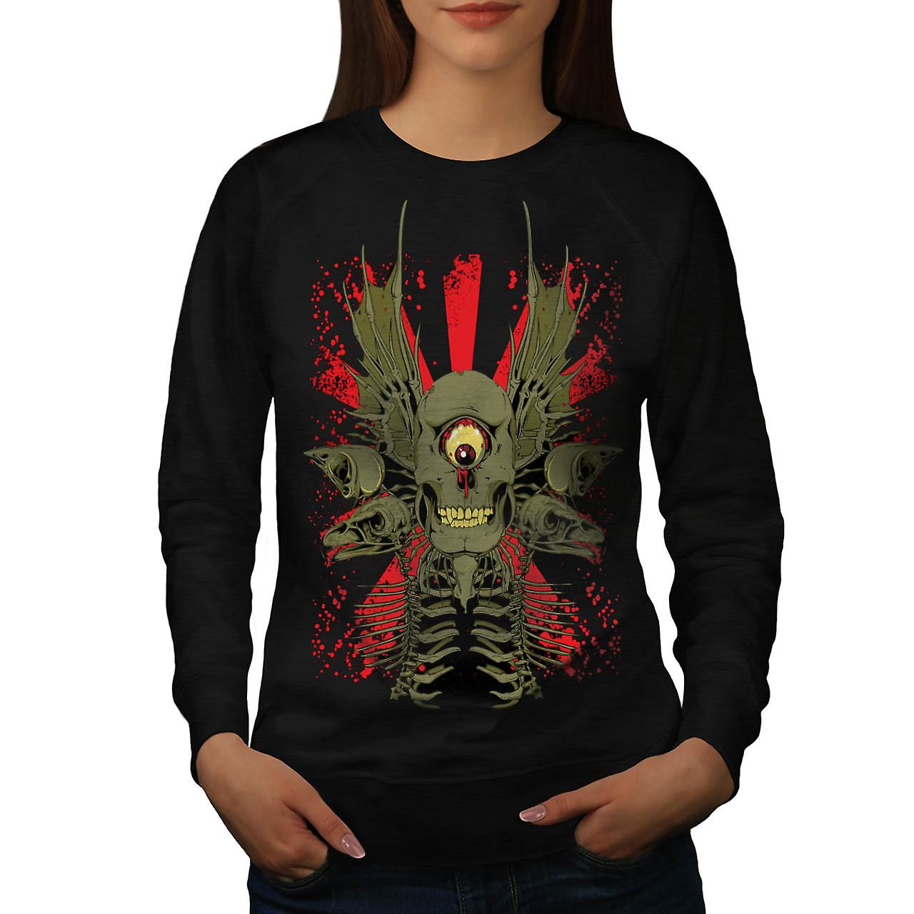 Scary Evil Cyclops Horror Skull Women Black Sweatshirt | Wellcoda