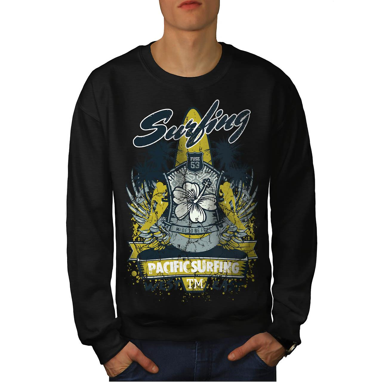 Pacific Surfing Beach West East Men Black Sweatshirt | Wellcoda