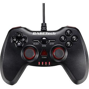 Gamepad Basetech USB Vibration PC Black, Red