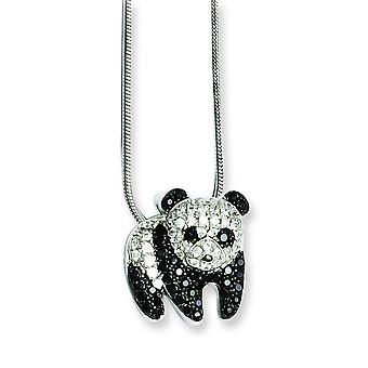Sterling Silver and Cubic Zirconia Brilliant Embers Panda Necklace - 18 Inch