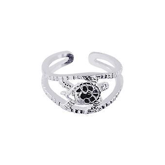 Sterling sølv justerbar fasettert Turtle tå Ring