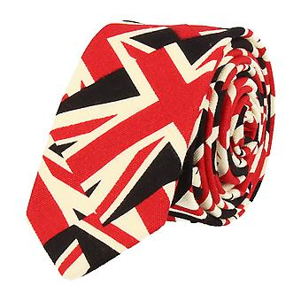 Snobbop narrow tie Club tie Union Jack British flag black red white