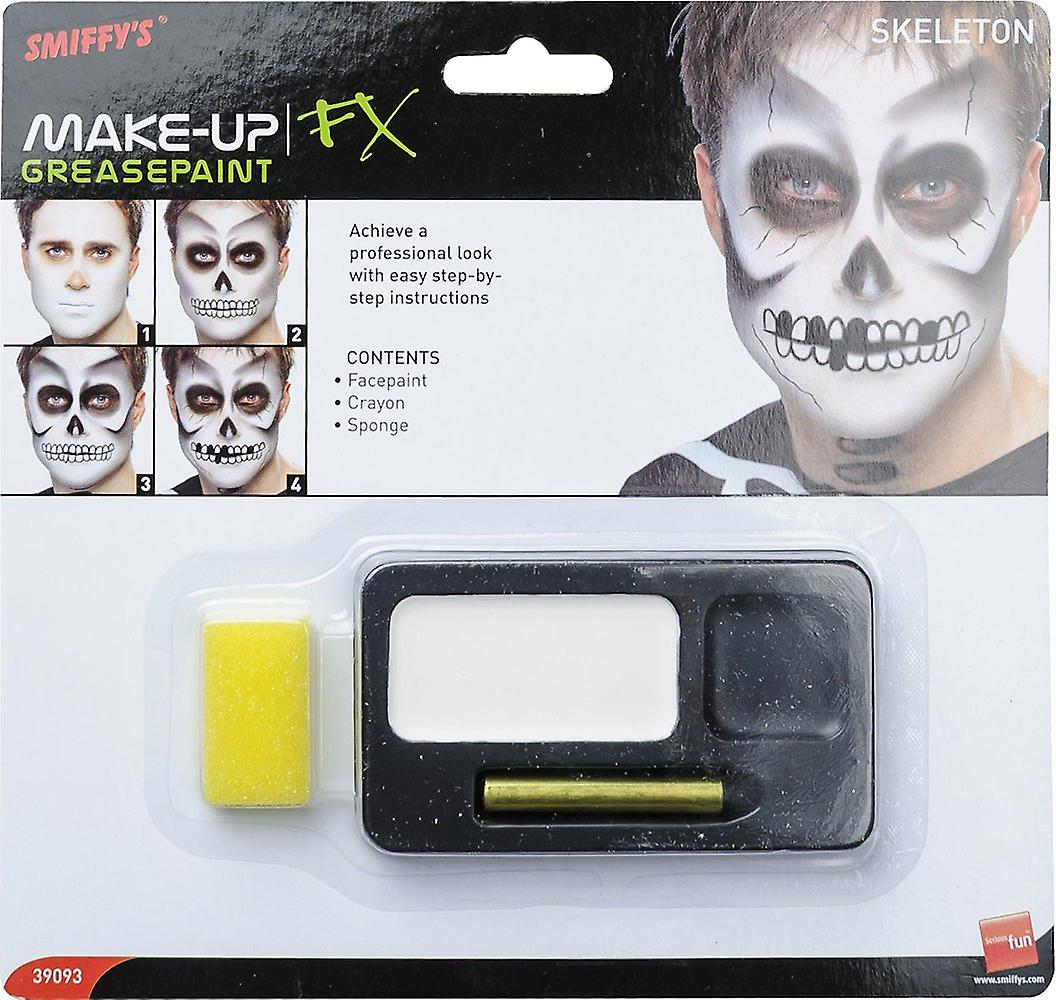Smiffys Skeleton Make Up Kit Halloween Fancy Dress Accessory Costume Black White