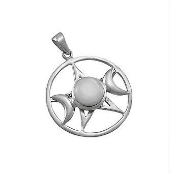 Sterling Silber dreifach Mond Pentagramm Anhänger w / Shell Akzent