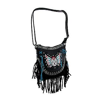 Sugar Skull Butterfly Fringed Concealed Carry Crossbody Purse