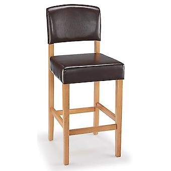 Lepson Kitchen Bar Stool Brown Bonded Leather And Oak Wood Frame