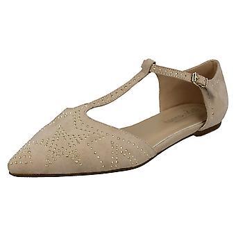 Damer Savannah flad T-Bar spænde gjorden pegede sko F80232