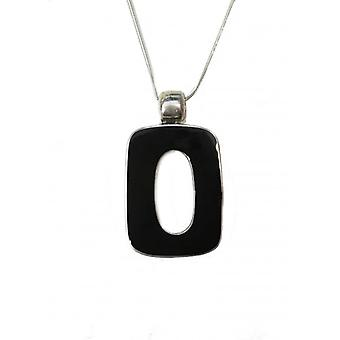 Cavendish French Silver and Black Agate Squared Polo Pendant with 16-18