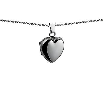 Silver 17x16mm plain heart shaped Locket with a curb Chain 24 inches