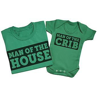 Man Of The Crib - Matching Father Baby Gift Set - White
