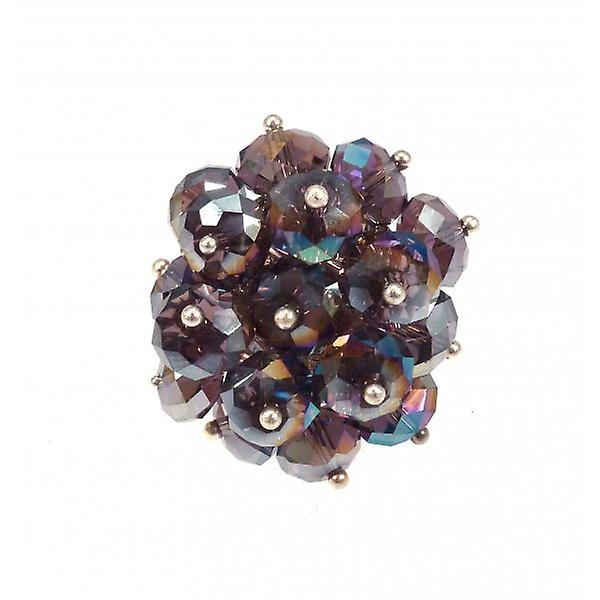 W.A.T AB Mauve Crystal Bead Cluster Ring