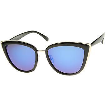 High Fashion ydre metalramme farve spejl linse overdimensionerede Cat Eye solbriller 55mm