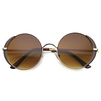 Womens Metal Round Sunglasses With UV400 Protected Gradient Lens