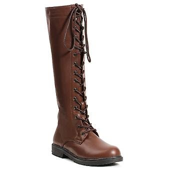 Ellie Shoes E-151-Karina 1 Knee High Lace Up Boot with Inside Zipper