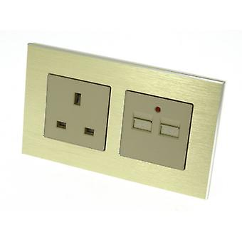 I LumoS Gold Brushed Aluminium 13A UK & 2.1A USB Charger Double Socket