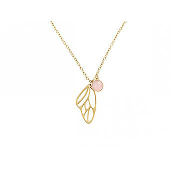 Chain - silver - gold-plated 45 cm - butterfly wings - Rose Quartz - pink-