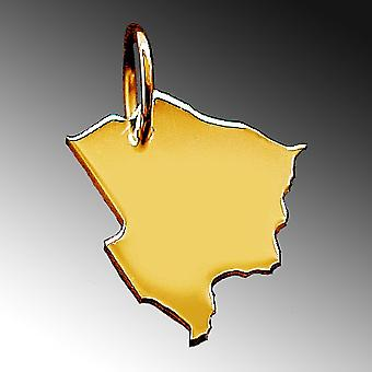 Trailer map BOTSWANA pendants in massive 585 yellow gold