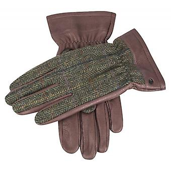 Dents Richmond Cashmere Lined Deerskin Leather Abraham Moon Gloves - Bark/Hunter Green