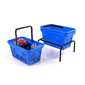 10 Blue Plastic Shopping Baskets with Basket Stacker - 21L