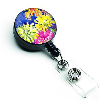 Carolines Treasures  6122BR Flower Retractable Badge Reel