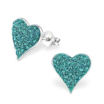 Heart - 925 Sterling Silver Crystal Ear Studs - W18811x