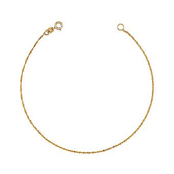 Floreo 10K Fine Gold Ultra Thin Singapore Chain Bracelet and Anklet, 0.04 Inch (1mm)