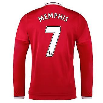 2015-2016 man Utd domicile chemise à manches longues (Memphis 7) - enfants