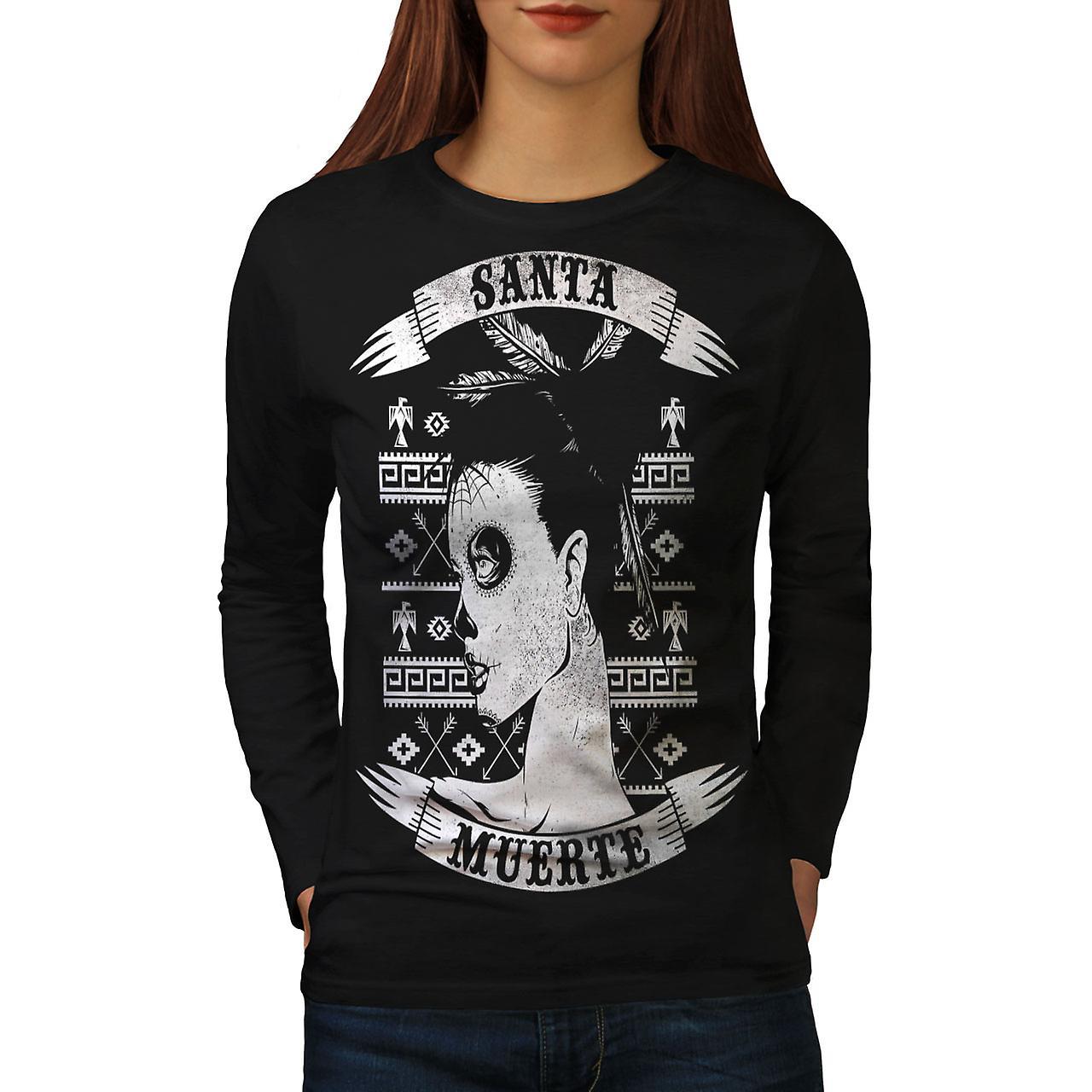 Santa Muerte femme morte Vintage Black T-shirt manches longues | Wellcoda